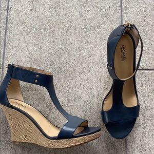 Never worn: Navy blue Michale Kors wedge heels